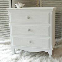 White wood 3 drawer chest shabby vintage chic French bedroom furniture storage