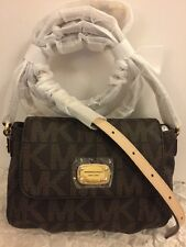 Michael Kors Jet Set Item SM FLAP MK Sig Xbody,BROWN-NWT-FreeShip!