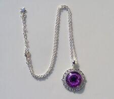 Purple Pentagram Glass Cabochon Pendant Bright Silver Chain Necklace.Pagan Wicca