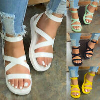 ❤️ Womens Summer Open Toe Round Toe Sandals Casual Ankle Strap Buckle Shoes Size