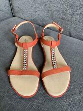 Clarks Ladies Sandals 5 D Summer Holiday Flat Orange Diamonte Casual