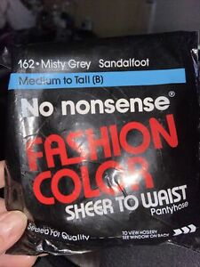 Vtg 1990 No Nonsense Fashion Color Pantyhose Med to Tall - Misty Gray #162-