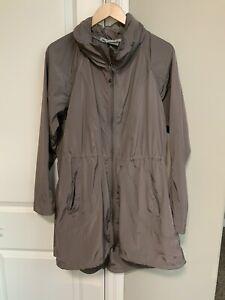 Athleta Women's Brown Drippity Rain Coat Jacket Full Zip Hood Pockets XL