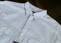 Daniel Cremieux Short Sleeve Blue White Striped Seersucker Shirt Nwt 2XT