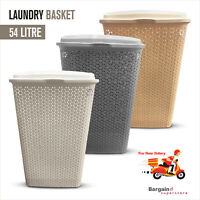 Large Laundry Basket Rattan Bin for Multi Storage Hamper White Grey Cream 54 L