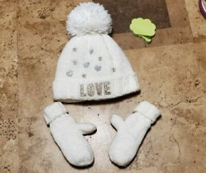 The Childrens Place Winter Hat & Mittens Set 12-24 months white Pom pom Gold