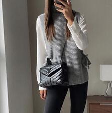 H&M Rib Knit Polo Neck Collar Slipover Waistcoat Size Onesize