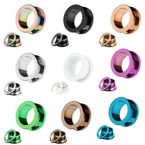 1 Pair Colorful Surgical Steel Silver Gold Screw Flesh Tunnel Ear Plug Stretcher