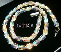 VINTAGE UNUSUAL FANCY CUT  Aurora Borealis Austrian Crystal  SPARKLY NECKLACE