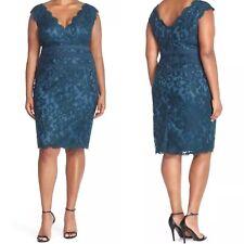 Sz 22Q TADASHI SHOJI TOO Embroidered Lace Sheath Dress $258 Teal T3PM