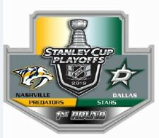 2019 NHL PLAYOFFS PIN 1ST ROUND NASHVILLE PREDATORS DALLAS STARS PUCK STYLE