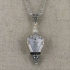1950 * Old Company *  Monogram H * Silver Plate Bell Knife Top Necklace