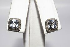 2.35CT NATURAL LIGHT BLUE TOPAZ & DIAMOND BOX HALO STUD EARRINGS 10K WHITE GOLD