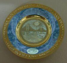 """Vintage San Francisco Golden Gate Bridge Souvenir 4"""" 24K Gold Edge Chokin Plate"""