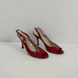 WOMENS L.K BENNETT RED PATENT BUCKLE HEEL STRAP PEEP TOE HEELS SHOES UK 3 EU 36