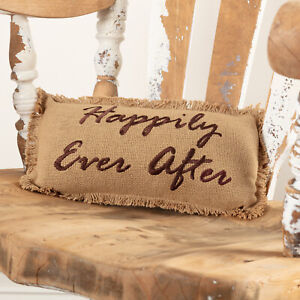 """VHC Brands Farmhouse 13""""x7"""" Happily Ever After Pillow Tan Burlap Bedroom Decor"""