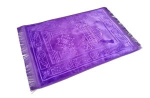 Purple Plain Padded Prayer Mat Thick Non Slip Islamic Foam Janamaz