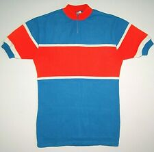 Bicycle jersey Tricots DU Rocher Made in France vintage rare red blue cycling