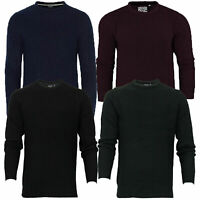 Mens Brave Soul 'Binary' Crew Neck Jumper Fishermans Chunky Rib Knit Winter New