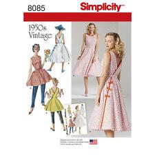 NIP S 8085 Vtg Retro 1950s Rockabilly wrap around apron sun dress pattern 14-22