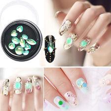 10pcs Mixed Shape 3D Nail Art Decoratio Wheel Green Opal Rhinestone Manicure DIY