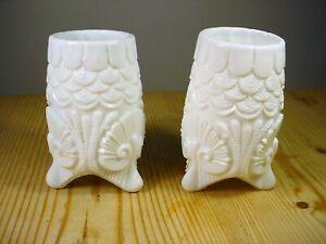 Victorian Shell Pattern Milk Glass PAIR Vases