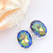 European Oval Shaped Rainbow Mystic Topaz Gems Silver Hook Earrings 1.5 Inch