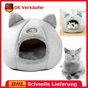 Katzenbett, Halb Geschlossener Warmer Komfortables Iglu, Plüsch-Hundezwinger M/L