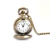 Retro Women Men Small Lotus Necklace Pendant Hollow Fob Quartz Pocket Watch Gift