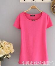 春夏装新款韩版女装修身百搭纯色女士打底衫圆领短袖女T恤
