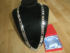 "Sale Lifetime 10mm 24"" 18K White Gold Plated Figaro Men Chain Swagger Xmas Gift"