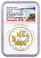 2018 Canada Icons Caribou Piedfort 1 oz Silver Gilt $25 NGC PF70 UC ER SKU52285