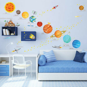 Solar System Wall Stickers Space Planets Bedroom Decor Kids Stars Rocket Decal
