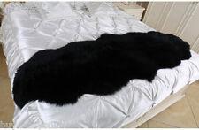 180x65cm Double Pelt Sheepskin Rug Black Lambskin Carpet 6x 2' Two Pelts Fur rug
