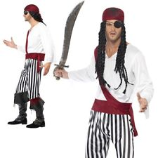 Mens Pirate Costume Adult Carribean Buccaneer Man Fancy Dress Outfit Jack