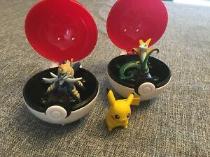 Pull back Pokeball x2 Pokémon Toy Tomy Seperior Pikachu & Samurott figures