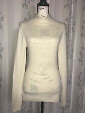 Old Navy 2-Ply 100% Cashmere Ivory Cowl Neck Sweater Long Sleeve Size M