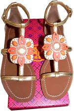 $295 Tory Burch MAURA Gold Leather T Strap Flat Sandals Slide Thong Shoe  8 - 38