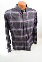 Eddie Bauer 100% Cotton L/S Flannel Shirt, Red & Grey, Men's Medium Slim Fit