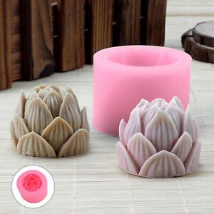 3D Lotus Silicone Cake Fondant Mold Wax Clay Soap Candle Making Mould Home DIY