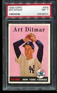 1958 Topps Baseball #354 ART DITMAR New York Yankees  PSA 7 NM