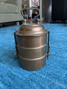 Vintage Stacking Copper & Brass Middle Eastern Tiffin Lunch Box