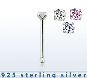 STERLING SILVER 925 C/Z NOSE STUD PRONG SETTING BOBBLE END 2MM C/Z 58