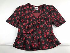 Anthropologie Meadow Rue XS Floral Red Black Heartland Peplum Top Cropped