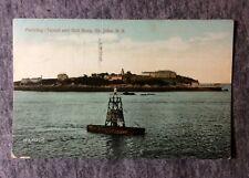 PARTRIDGE ISLAND & BELL BUOY ST JOHN N.B. CANADA POSTCARD 1900s #L637