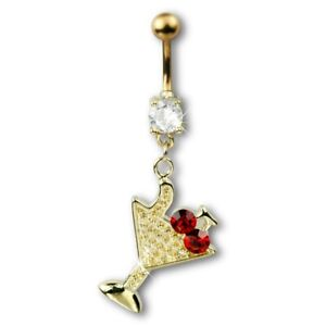 Stainless Steel Gold PVD Jeweled Belly Ring With Dangling Martini Glass & Cherry