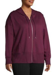 Terra & Sky Women's Plus Athleisure Hoodie Size 3X (24-26W) Purple Wine Fusion