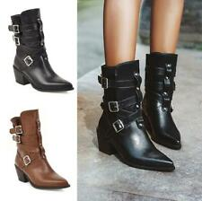 Gladiator Women Chunky Heel Pointed Toe Chelsea Cowboy Leather Ankle Boots 34-48