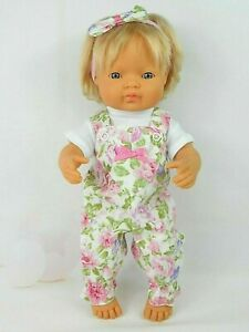 Dolls clothes for 38cm Miniland/34cm Minikane Doll~ pink/lilac FLORAL OVERALLS