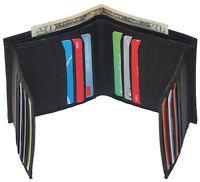 Cowhide Leather Mens Bifold Wallet Slim Hipster Cowhide Credit Card New Black